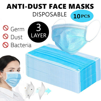10pcs Disposable Face Masks Anti-dust Filter Dust Mask Mouth Masks Non Woven 3 Layer Earloop Face Mask Breathable Salon Flu Mask