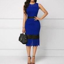Элегантный без рукавов женский синий платье лето африканский вечеринка ужин миди платья халат тонкий женский карандаш офис леди платья