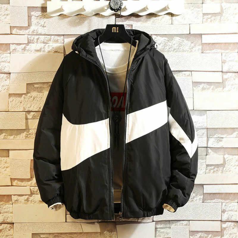 Nowy 2020 modna, patchworka męskie zimowe płaszcze i kurtki kurtka zimowa mężczyźni z kapturem Slim ocieplana kurtka z bawełny dla Men12 kolory
