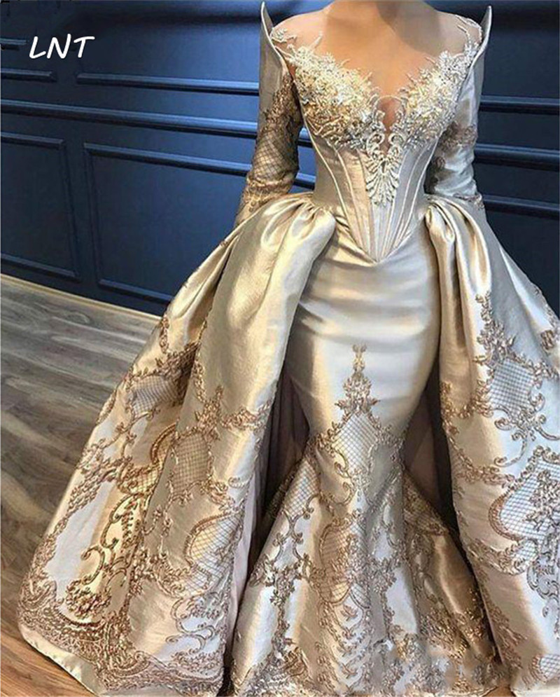 Sheer Neck Long Sleeve Lace Appliqued Mermaid Evening Gowns With Overlay Skirt Abiye Arabic Party Gowns