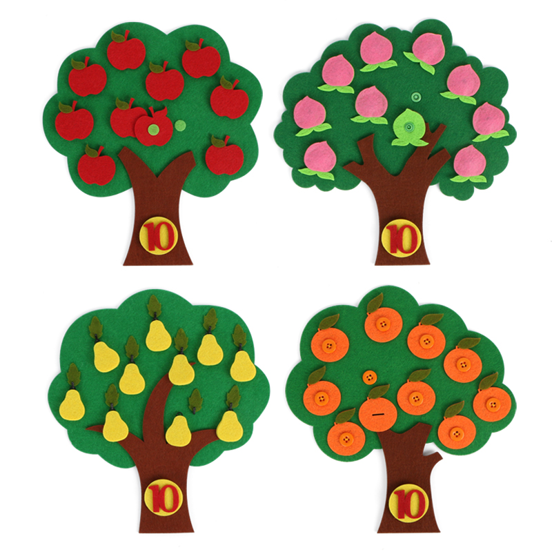 4 Styles DIY Learn Digital Cognitive Matching Felt Fruit Tree Quiet Book Toys For Child Early Learning Digital Kindergarten Teac