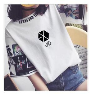 Kpop EXO 2020 новые женские свободные футболки K-pop с круглым воротником Harajuku студенческие Топы с коротким рукавом футболки летние модные хлопков...