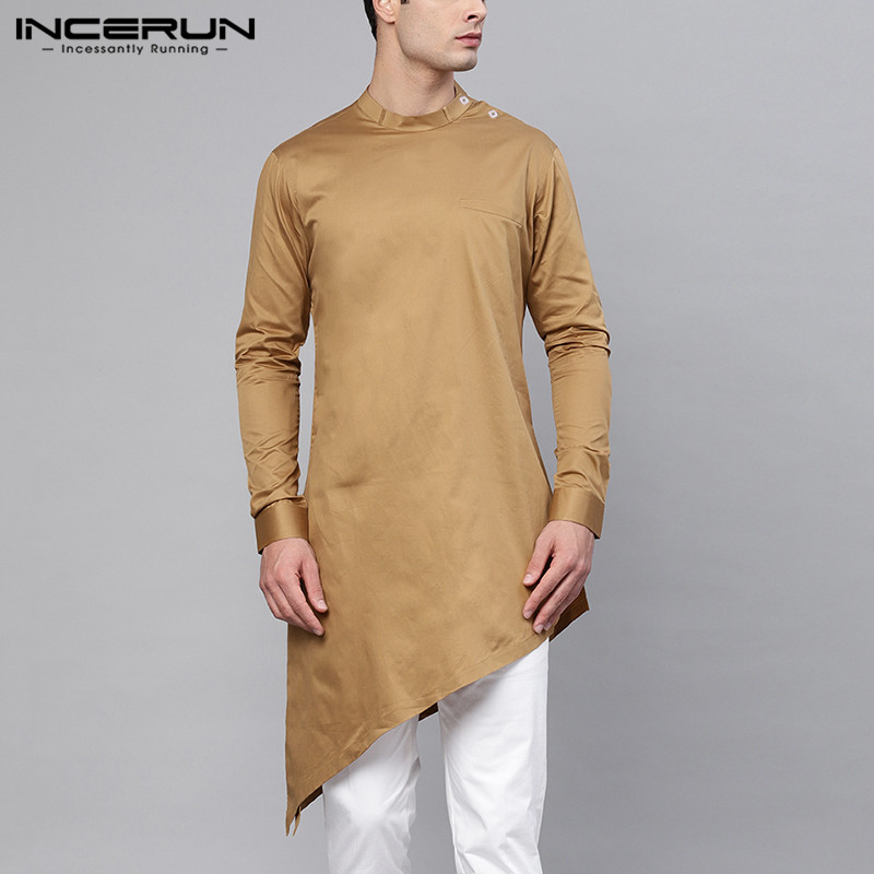 INCERUN Vintage Men Shirts Indian Clothes Long Sleeve Solid Color 2020 Stand Collar Irregular Hem Men Shirts Muslim Kaftan S-5XL