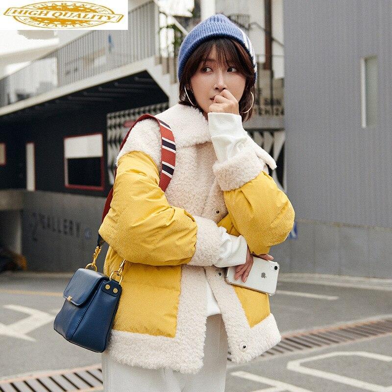 Real Fur Coat Female Down Jacket 2020 Autumn Winter Jacket Women Real Wool Coats And Jackets Women Korean Outwear MY3652