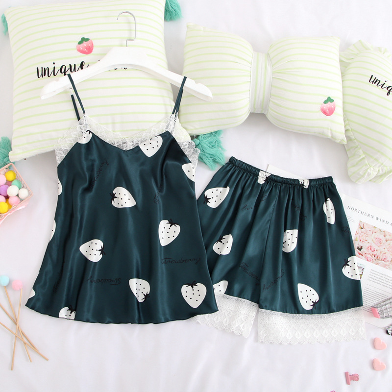 Qweek 2 Pcs Pj Set Print Cute Sleepwear Silk Pyjamas Women Lace Sexy Nightwear Home Clothes Cartoon Kawaii Pajamas Women