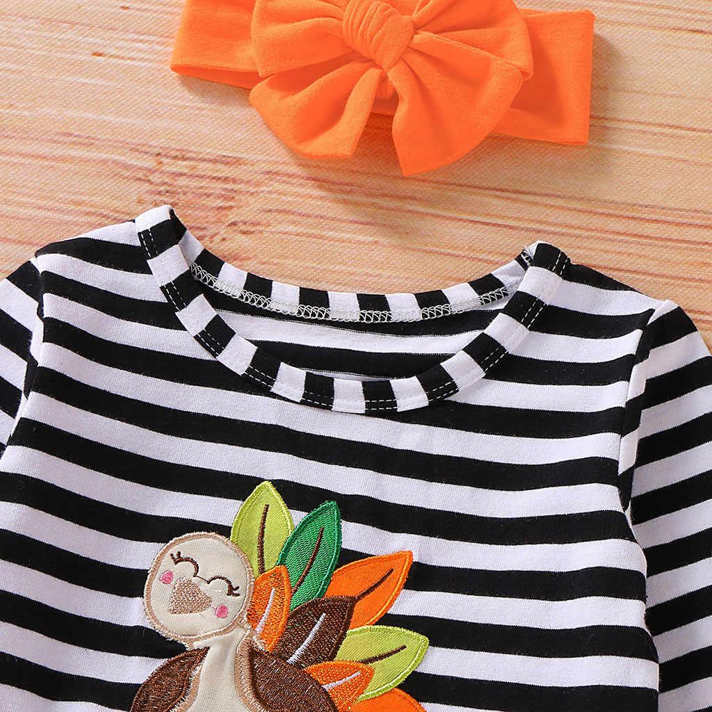 เด็กวัยหัดเดินเด็กทารกวันขอบคุณพระเจ้าชุดชุดแขนยาวตุรกีลาย Tulle ชุด + headband ชุดฤดูใบไม้ร่วงหญิง Vestido