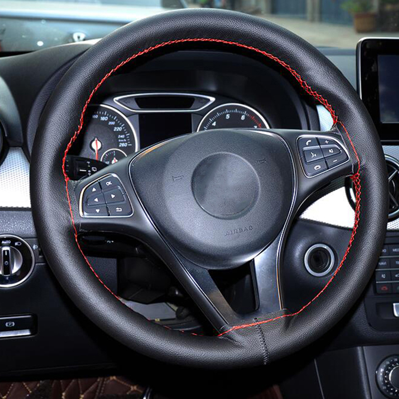 38CM Car Steering <font><b>Wheel</b></font> Cover With Needles And Thread DIY For Mercedes Benz W203 W211 W204 W210 <font><b>W124</b></font> W212 W202 W205 W220 image