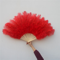 YY-tecso 15 Костей высокого качества пушистые красные страусиные перья веер для танцевального торжества реквизит для выступления перьевой веер
