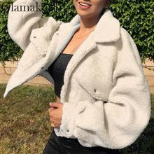 Женская короткая плюшевая куртка Glamaker, Белая теплая УКОРОЧЕННАЯ МЕХОВАЯ КУРТКА с искусственным мехом и карманами, осенняя уличная одежда, черное пальто