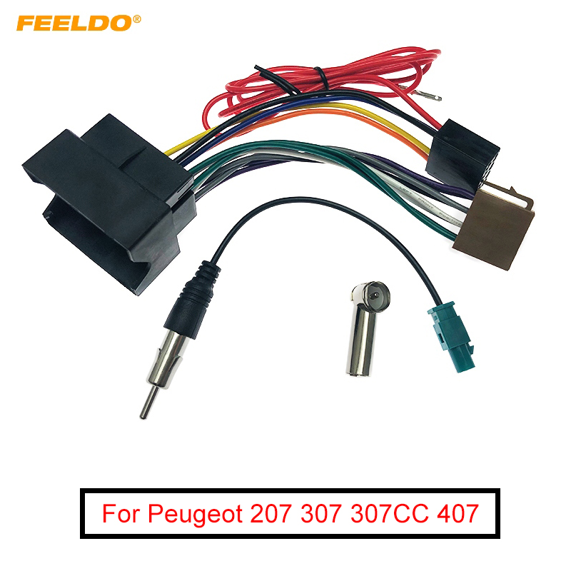 FEELDO Car Stereo Audio ISO Wiring Harness Cable For Peugeot 207 307 307CC 407 For Citroen C2 C5 Radio Antenna Wire Adapter