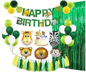 Детские вечерние украшения, набор животных джунглей, тематическая вечеринка на день рождения вечерние детские праздничные украшения, пода...
