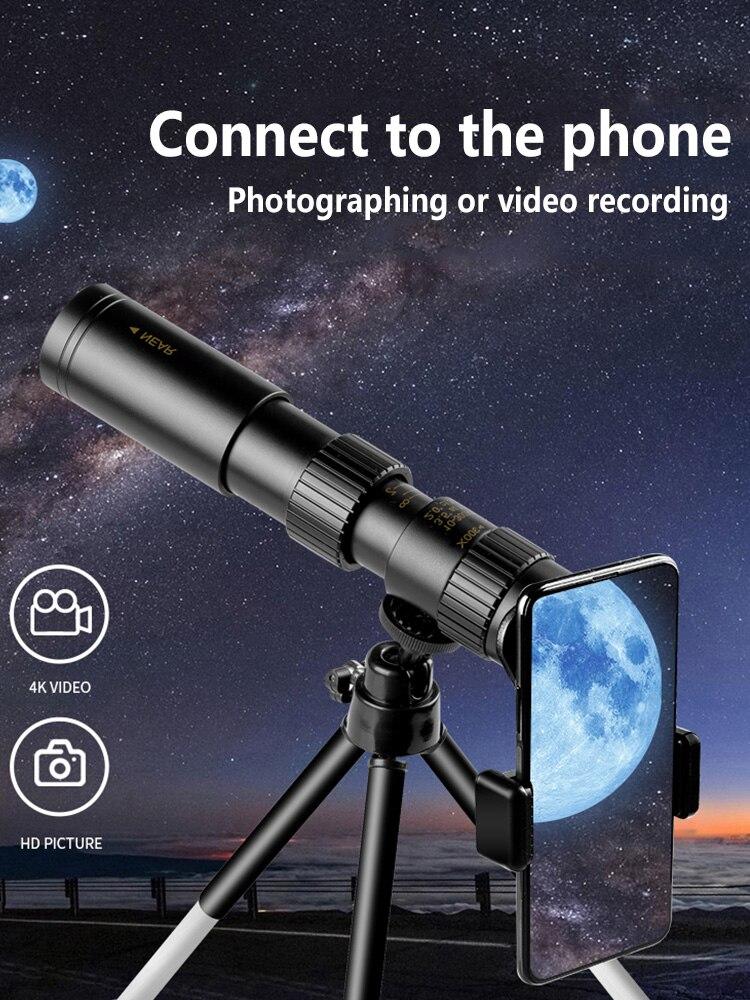 Металлический монокулярный телескоп 10-300 с супер увеличением для смартфона, профессиональный бинокль, окуляр HD, охота, кемпинг