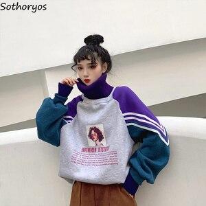 Image 5 - Hoodies kadın balıkçı yaka kalın artı kadife sıcak Harajuku baskılı kazaklar bayan boy Patchwork eğlence şık tişörtü