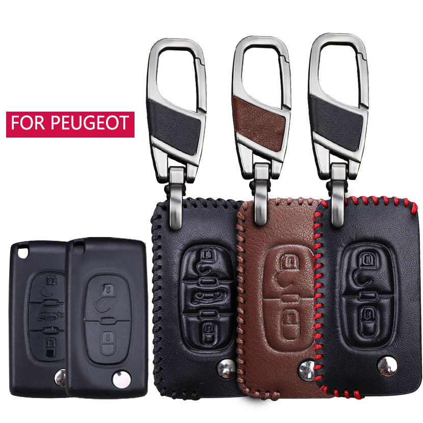 Leather Car Key Ring Shell Key Case Cover Fob For <font><b>Peugeot</b></font> 2019 <font><b>2020</b></font> 407 508 308 2008 4008 5008 3008 <font><b>208</b></font> Boxer 206 306 301 RCZ image