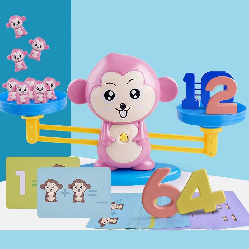 Monkey Balance Games Match Game Singe Toys Balancing Scale Caculating Tool Educational Children Montessori Balance Measuring Toy