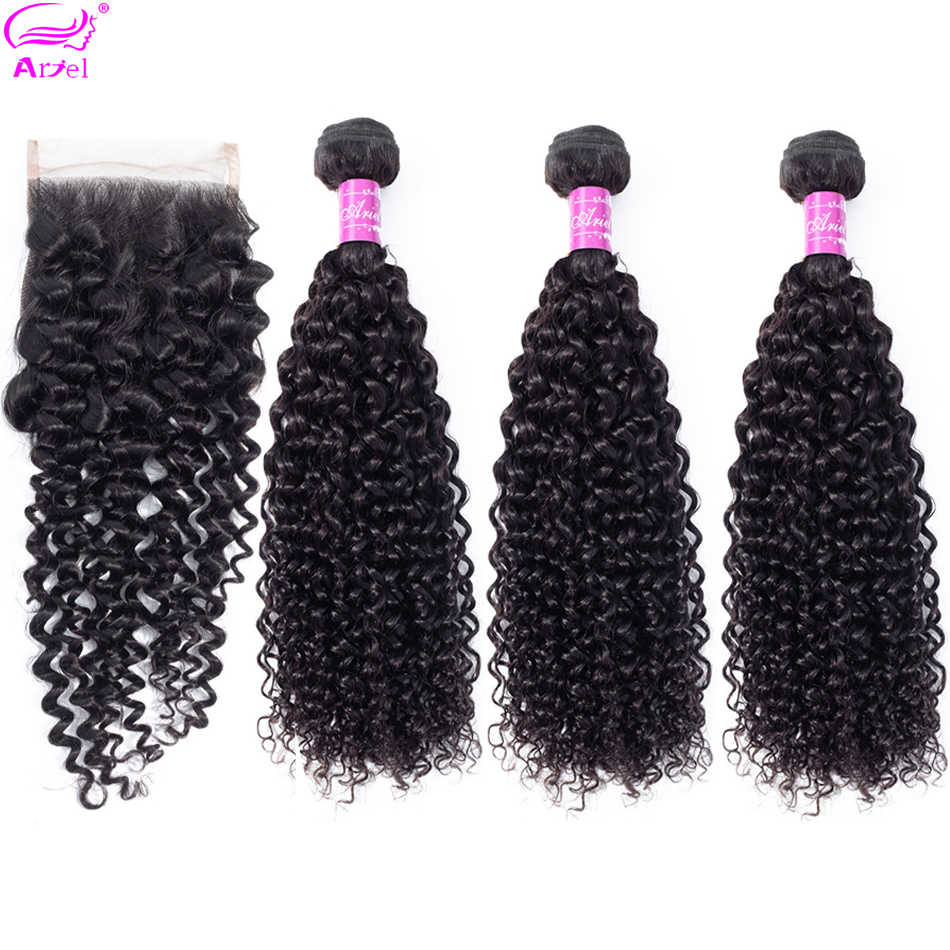 Curly Hair Bundles With Closure Free Part Brazilian Hair Weave Bundles Non Remy 100% Human Hair 3 Bundles With Closure 4*4 Ariel