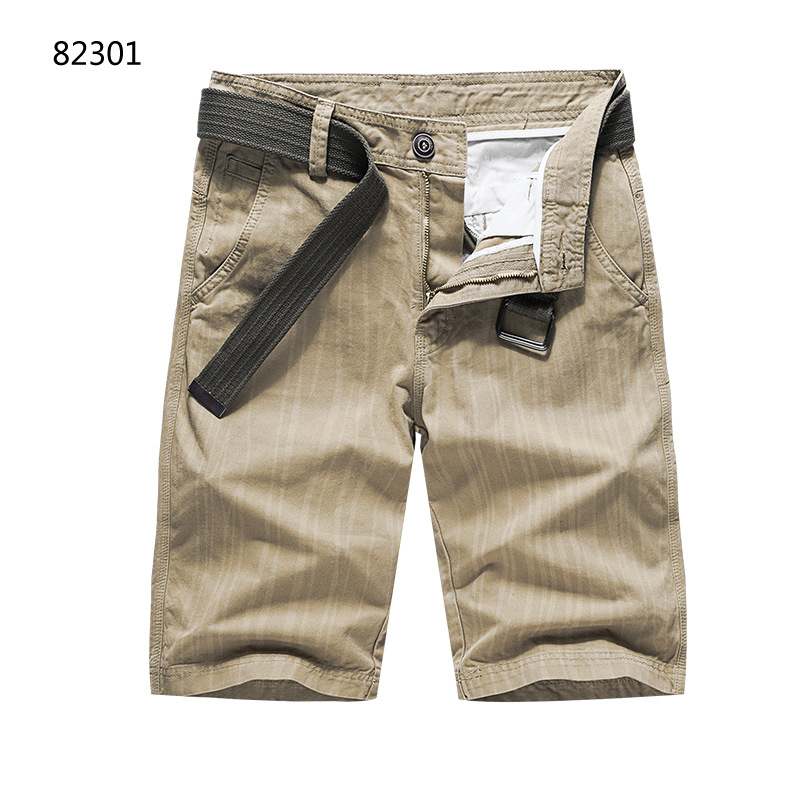 Hot Selling Men Summer Loose-Fit Casual Solid Color Workwear Shorts Large Size Four Bags Shorts