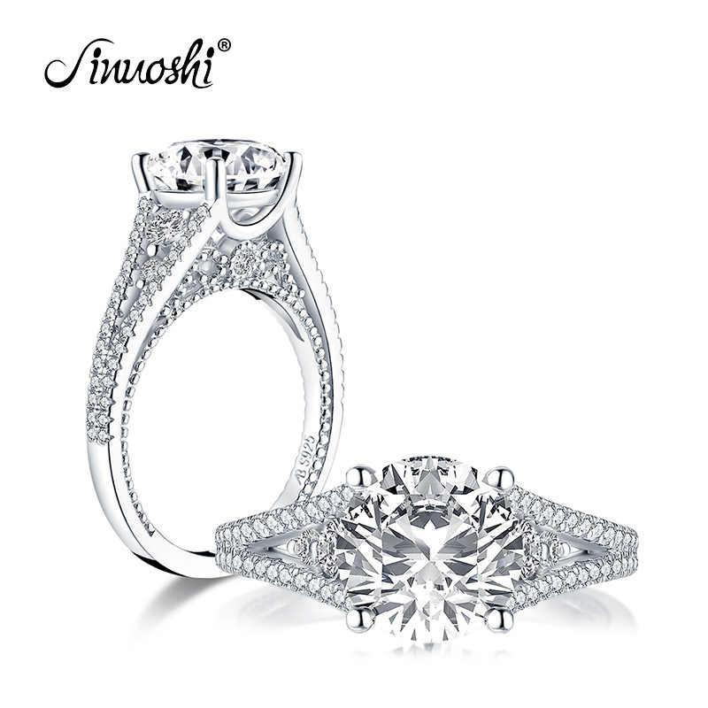 AINUOSHI роскошное серебро 925 пробы 9,0 мм большой круглый вырез обручальное кольцо имитация бриллианта Свадебные 2.65ct свадебные ювелирные кольца