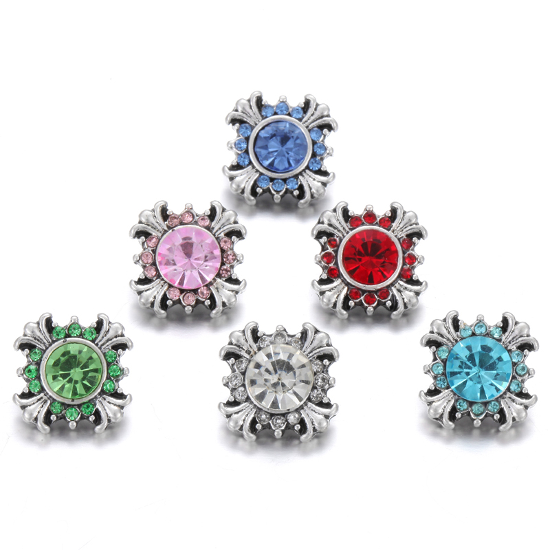 10pcs/lot Wholesale 12mm Snap Buttons for Snap Button Jewellery Crystal Rhinestone Metal Cross Snaps Fit Mini 12mm Snap Bracelet image