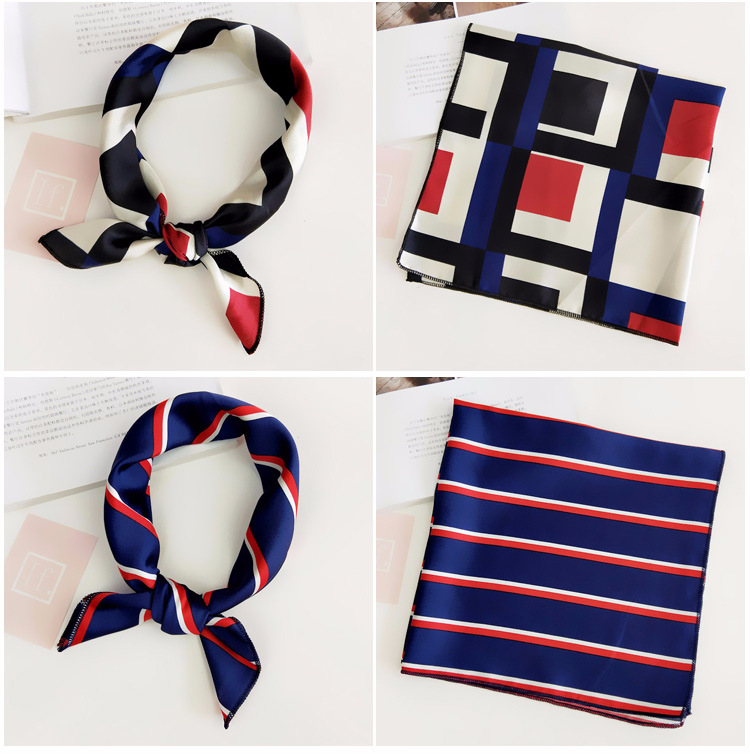 H154bce8204e34ce78cad6f349efed5efx - Square Scarf Hair Tie Band For Business Party Women Elegant Small Vintage Skinny Retro Head Neck Silk Satin Scarf