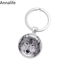 2019 New Wolf-Moon-Keychain Wolf Moon Cabochon Glass Product Keyring Full Moon Jewelry Wolf Pendant Wolf Key Chain Ring(China)