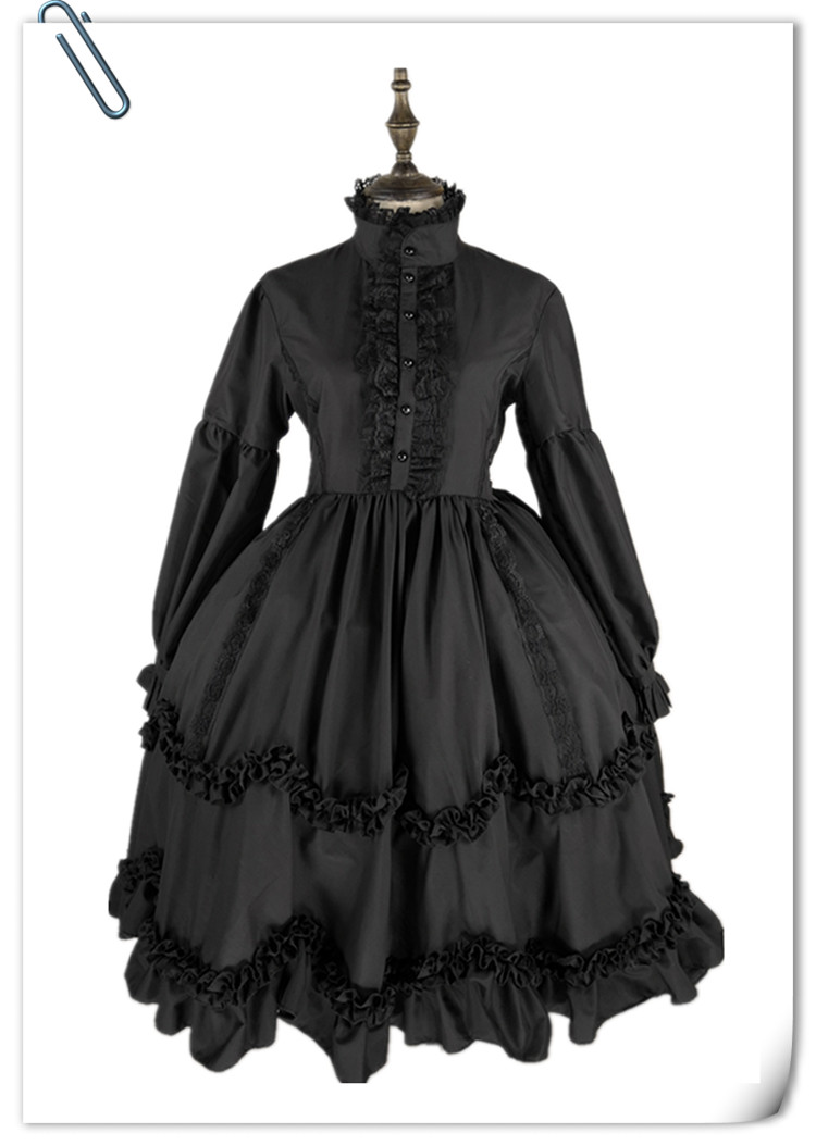 Kawaii girl <font><b>loli</b></font> cos op gothic lolita Lolita dress gorgeous lace dark long-sleeved victorian dress stand bowknot gothic dress image