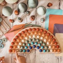 Brinquedos criativos do bebê da placa do arco-íris cor de madeira que classifica montessori brinquedos educativos presentes para crianças