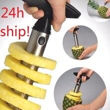 1 шт., нержавеющая сталь, простой в использовании, нож для ананаса, аксессуары для нарезки ананаса, резак для фруктов, корер, кухонный инвента...