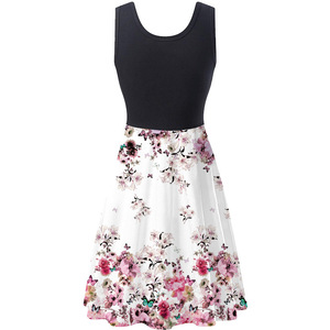 Image 5 - חדש 2019 קיץ שמלות נשים הדפסת חוף שמלה מזדמן שרוולים O צוואר טלאים אונליין שמלת Boho טנק סקסי שמלות Vestidos