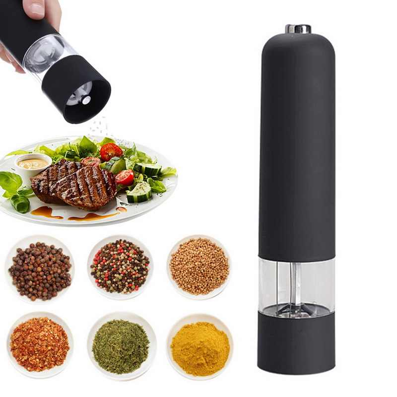 Electric Pepper Grinder Salt Spice Herbal Containers with LED Lights Mill Adjustable Coarseness Home Kitchen Cooking BBQ Tools