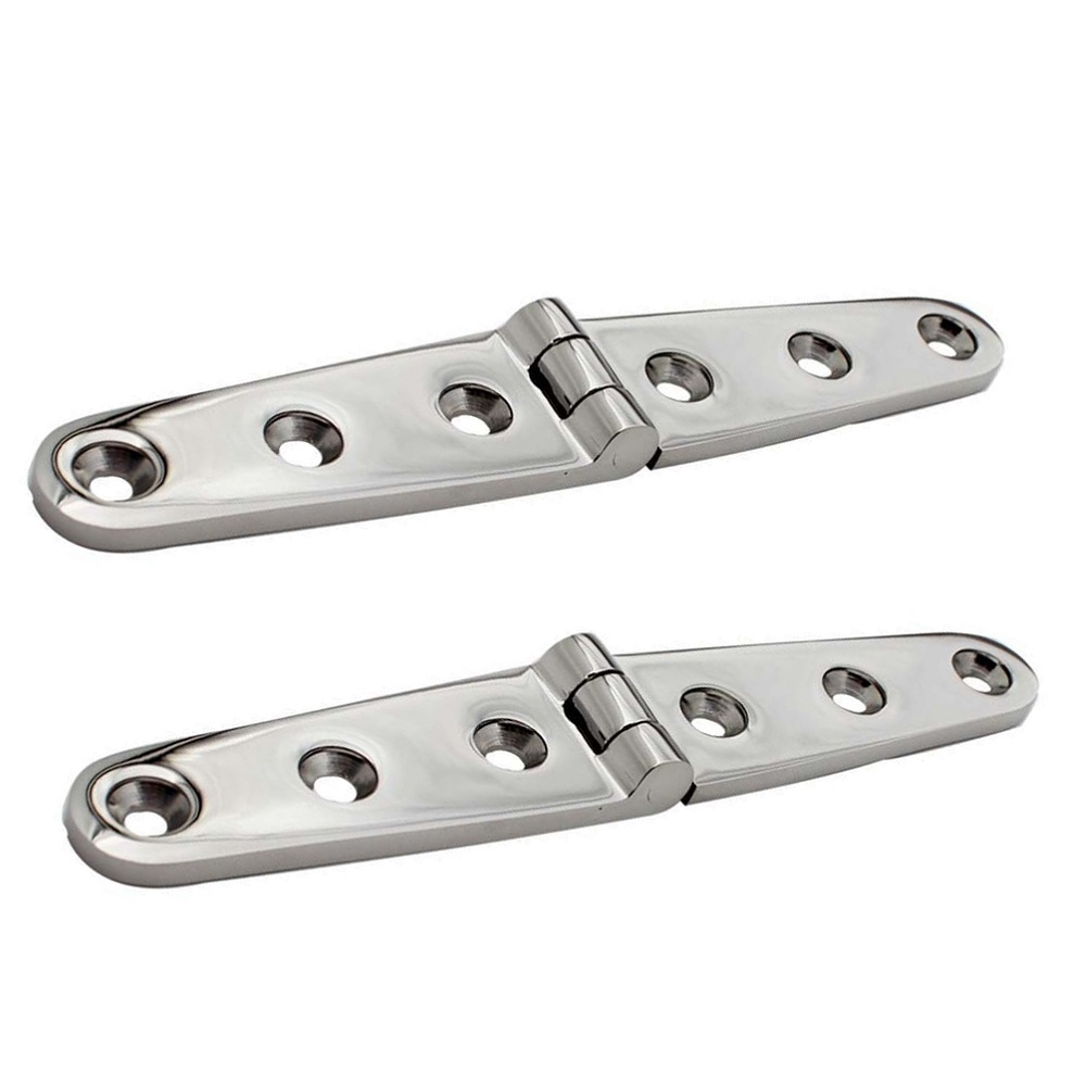 2PCS Stainless Steel 316 Strap Hinge With 6 Holes 152mm Mirror Polish Marine Boat Hardware Cast Door Strap Hinges