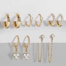 New Design CZ Zircon Crystal Small Hoops Sets Long Gold Chain Earrings for Women Twist Beads Huggie Fashion Jewelry Brincos 2021 cheap onekiss CN(Origin) Copper Hoop Earrings Trendy Geometric Cubic Zirconia 21400 5pair set huggies Ear Small Hoops Gold Hoops Huggie