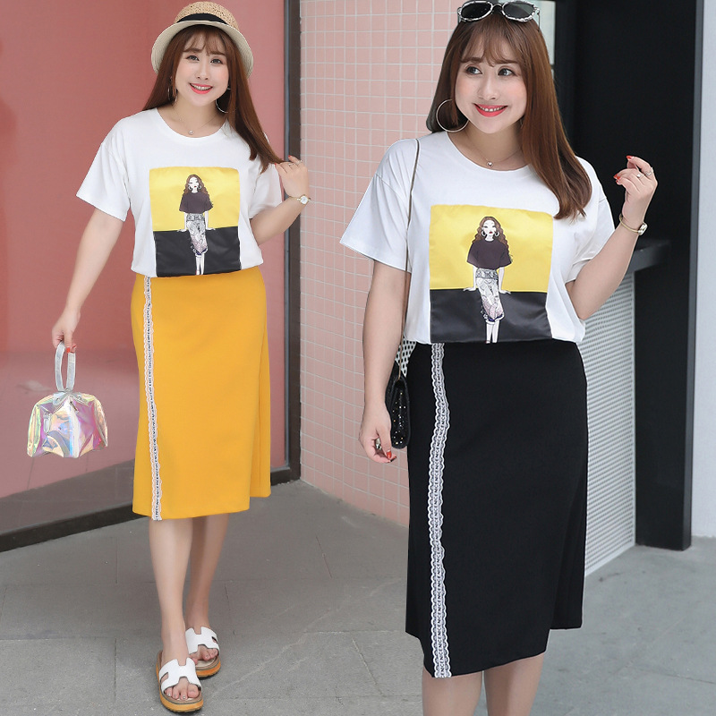 [Sold Out Lower Rack] Large Size WOMEN'S Dress T-shirt Suit 200 Slimming Two-Piece Set Of Fat 1215