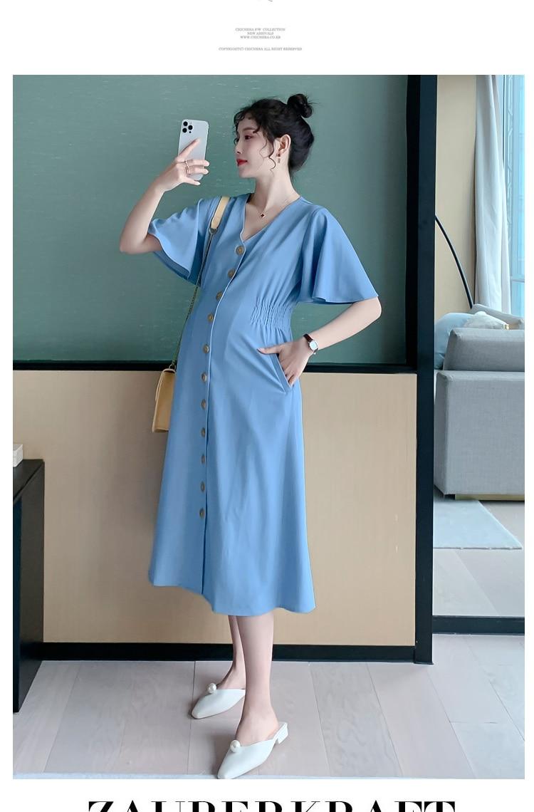 6616# Summer Soft Thin Cotton Tencel Denim Maternity Dress V Neck Slim Waist A Line Loose Clothes for Pregnant Women Pregnancy