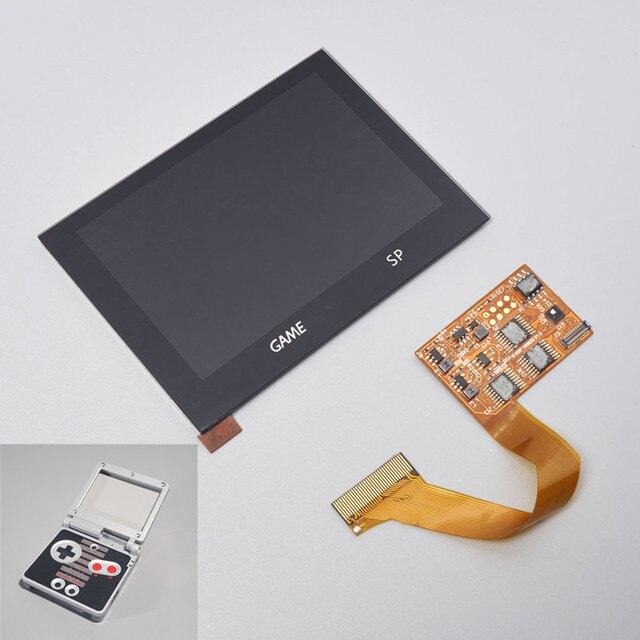 LCD أطقم شل الإسكان 5 مستوى السطوع تسليط الضوء على GBA SP IPS مغلفة عرض ل GAMEBOY مسبقا SP الخلفية PRE CUT قذيفة