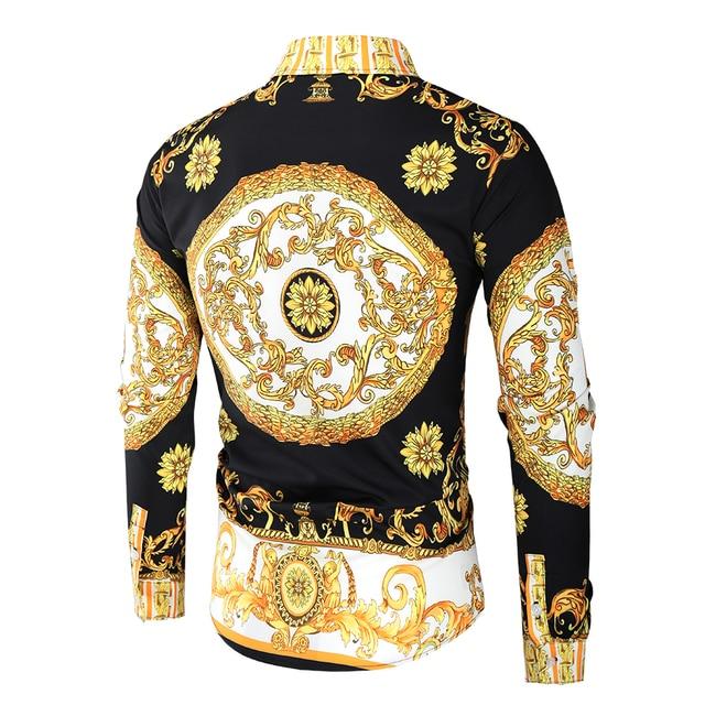 Luxury Royal Shirt Men Casual Slim Fit Long Sleeve Men Paisley Print Shirt Camisa Social Masculina Manga Longa Prom Party Shirt 2