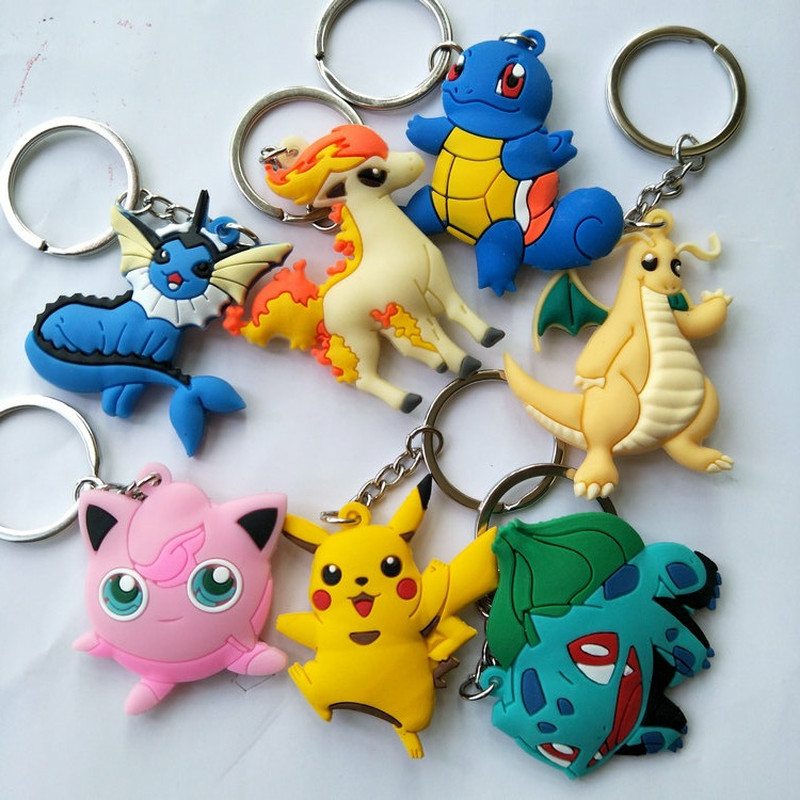 Pikachu Bulbasaur Japanese Anime Pokemon PVC Keychain Dragonite Squirtle Vaporeon Jigglypuff Cute Funny Pendant Key Chains Gift