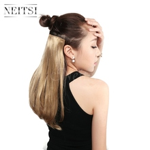 Neitsi 14'' Straight 3pcsset Synthetic Clip in Hair Extensions 8 Clips High Temperature Fiber Natural Blond 75g