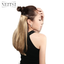 Clip-In Hair-Extensions Straight Neitsi Natural Blond High-Temperature-Fiber Synthetic