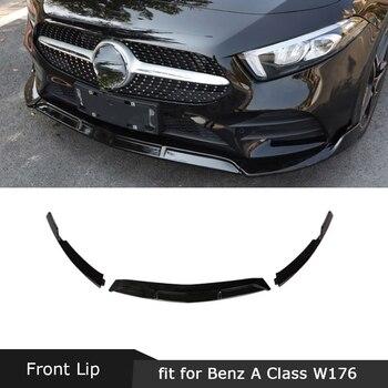 For Mercedes-Benz A Class W177 Sport A45 AMG 2019 2020 Front Lip Spoiler Splitters ABS Black Bumper Chin Shovel Protector