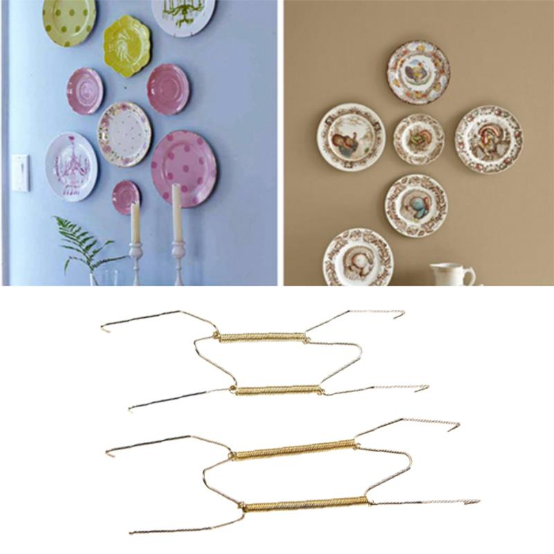 Gold Holder Hanging Kitchen Restaurant Convenien Hook Home Decoration Metal Wire Practical Parlour Plate Spring Wall Hanger