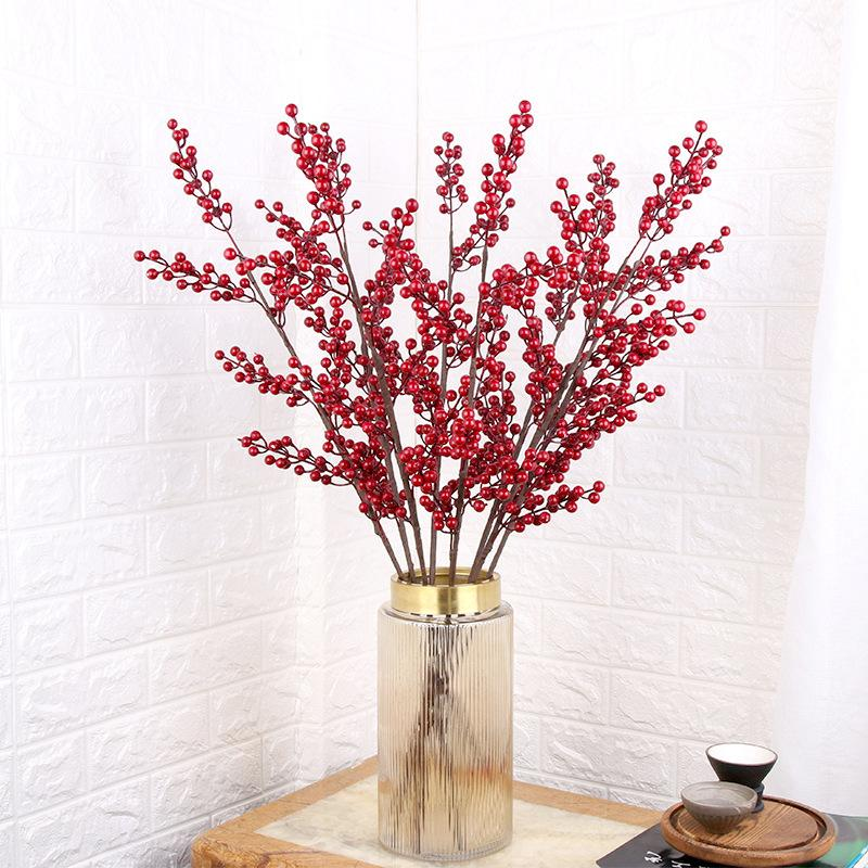 Artificial Berries Branch Plastic Fake Flowers Leaf Decorative Berry DIY Red Berries Plant For New Year Christmas Decoration