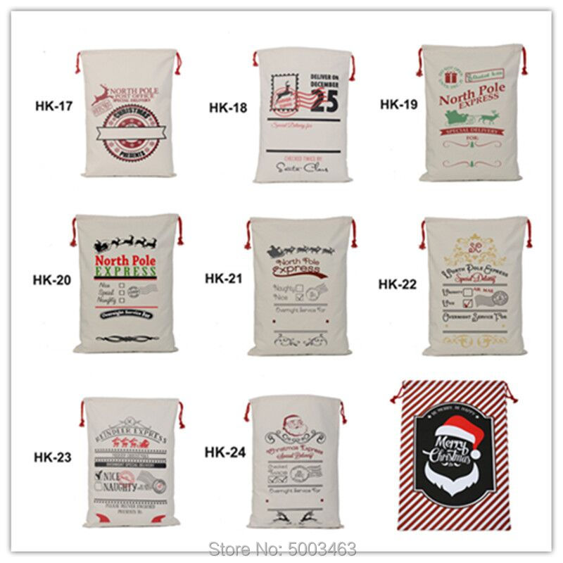 Christmas Bag 44pcs/lot 38 Styles Santa Sack Festive Party Kids Supplies Factory Wholesale For Canvas Bags Christmas Gift