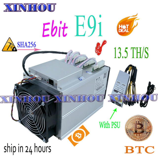 Used bitcoin miner Ebit E9i 13.5T SHA256 Asic miner With PSU BTC BCH mining Better than E10 antminer S9 S17 S17e T17 M21S M3 T3