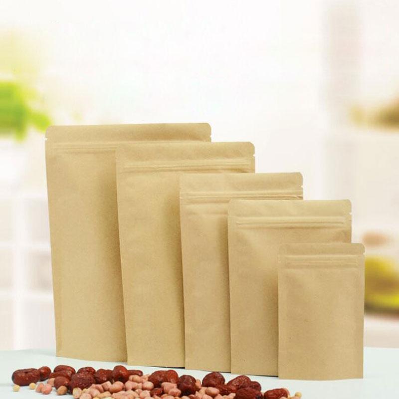 Kraft Paper Tea Bag Stand Up Gift Fruit Tea Packaging Pouches Zipper Self Sealing Bags 100pcs/lot