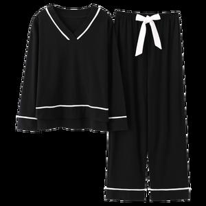 Image 3 - BZEL V Neck Sleepwear For Women Black Pajamas Sets Cute Bow Nighty Long Sleeves Long Pans Pijamas Pyjamas Cotton Casual Homewear