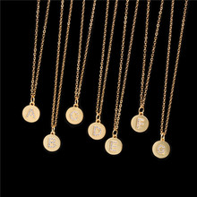 Copper CZ Zircon A-Z 26 Alphabet Letter Initial Pendant Necklace Stainless Steel Gold Chain Choker Necklace for Women Jewelry real sterling silver initial letter amour necklace red coral shell choker zircon name pendant for women brand monaco jewelry