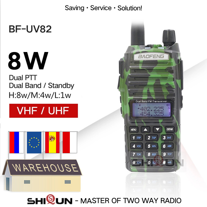 Original Dual PTT Baofeng UV-82 8W Radio 10 KM Walkie Talkie Black Camo Handy Amateur Radio Uv-5r UV-9R Plus For Hunting Uv82