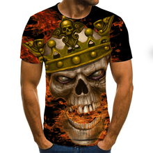New products in 2020! Horror T-shirt Men's Summer Fashion T-shirt 3D Skull Demon T-shirt O Men's T-shirt Plus Large Size T-shirt