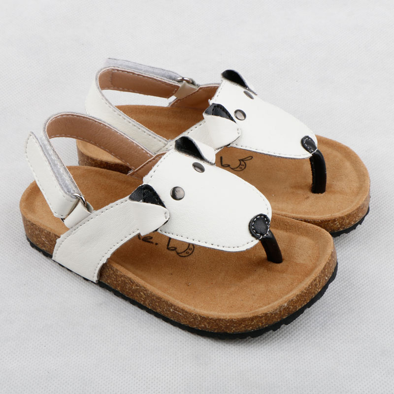 Summer Kids Sandals Fashion Comfortable Girls Flip Flops Cork Boys Slippers For Children Barefoot Shoes White Dog Shoes Flats